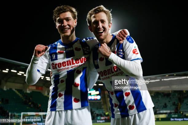 Sam Lammers of SC Heerenveen, Michel Vlap of SC Heerenveen, celebrates the victory after the game during the Dutch Eredivisie match between ADO Den...