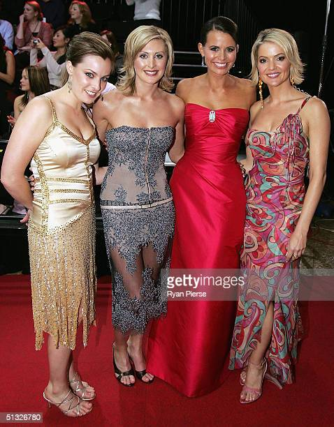 Sam Lane Christi Malthouse Jo Silvagni and Sandra Sully arrive for the Brownlow Medal Dinner at the Crown Casino on September 20 2004 in Melbourne...