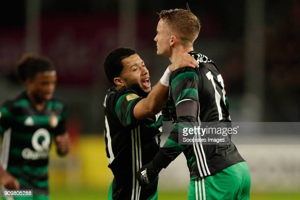Sam Larsson of Feyenoord celebrates 01 with Tonny Vilhena of Feyenoord during the Dutch Eredivisie match between FC Utrecht v Feyenoord at the...