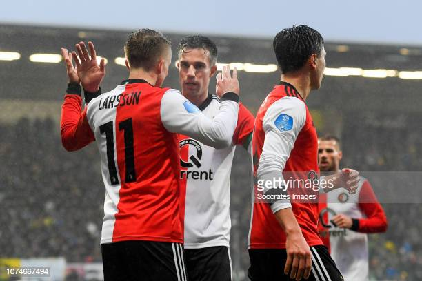 Sam Larsson of Feyenoord Robin van Persie of Feyenoord Steven Berghuis of Feyenoord celebrate 12 during the Dutch Eredivisie match between ADO Den...