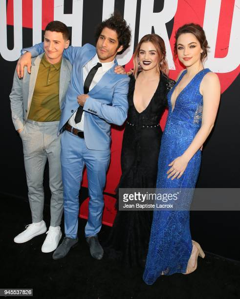 Sam Lerner Tyler Posey Lucy Hale and Violett Beane attend the premiere of Universal Pictures' 'Truth Or Dare' on April 12 2018 in Hollywood California
