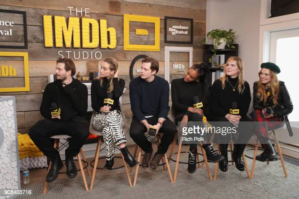 Sam Levinson Suki Waterhouse Bill Skarsgard Abra Hari Nef and Odessa Young of 'Assassination Nation' attend The IMDb Studio and The IMDb Show on...