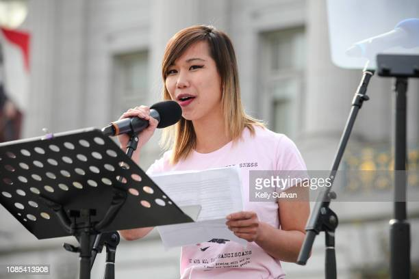 Sam Lew Policy Director for the Coalition for Homelessness speaks onstage at the Women's March San Francisco in Civic Center Plaza on January 19 2019...