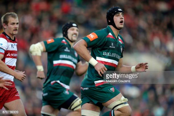 Sam Lewis of Leicester Tigers during the AngloWelsh Cup tie between Leicester Tigers and Gloucester Rugby at Welford Road on November 4 2017 in...