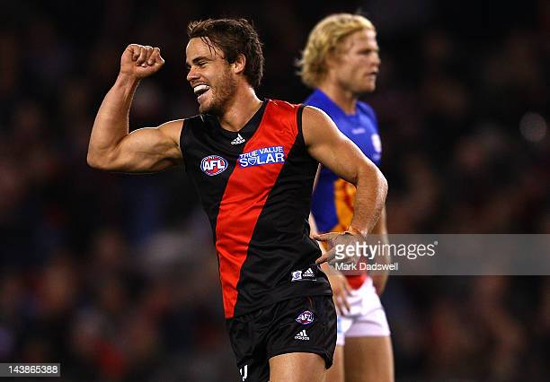 Sam Lonergan of the Bombers celebrates a goal during the round six AFL match between the Essendon Bombers and the Brisbane Lions at Etihad Stadium on...