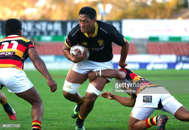 Sam Lousi in action for Wellington during the round six Mitre 10 Cup match between Waikato and Wellington at FMG Stadium on September 23 2017 in...