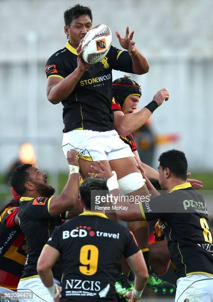Sam Lousi of Wellington at the lineout during the round six Mitre 10 Cup match between Waikato and Wellington at FMG Stadium on September 23 2017 in...