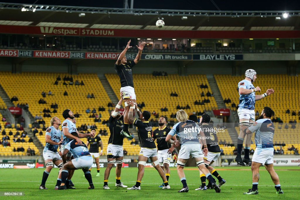 Sam Lousi of Wellington wins a lineout during the round nine Mitre 10 Cup match between Wellington and Northland at Westpac Stadium on October 12, 2017 in Wellington, New Zealand.