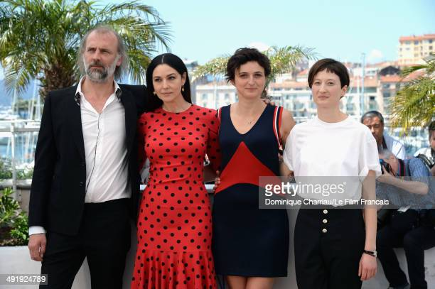 Sam Louwyck actress Monica Bellucci director Alice Rohrwacher and Alba Rohrwacher attend 'The Wonders' photocall at the 67th Annual Cannes Film...
