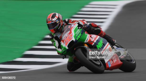 Sam Lowes of Great Britain and Aprilia Racing Team Gresini during Free Practice 3 at Silverstone Circuit on August 26, 2017 in Northampton, England.