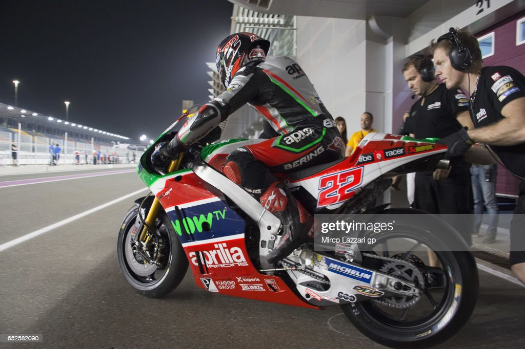 Sam Lowes of Great Britain and Aprilia Racing Team Gresini starts from box during the MotoGP Tests In Losail at Losail Circuit on March 12, 2017 in Doha, Qatar.