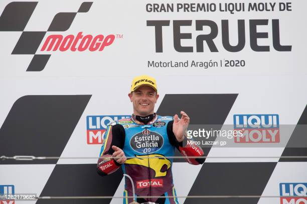 Sam Lowes of Great Britain and EG 0,0 Marc VDS celebrates the victory on the podium at the end of the Moto2 race during the MotoGP of Teruel at...