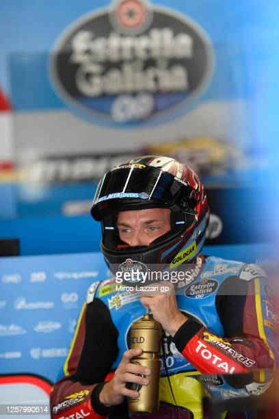 Sam Lowes of Great Britain and EG 0,0 Marc VDS drinks in box during the MotoGP of Andalucia - Free Practice at Circuito de Jerez on July 24, 2020 in...