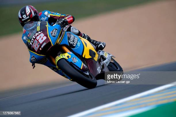 Sam Lowes of Great Britain and EG 0,0 Marc VDS heads down a straight during the MotoGP of France: Free Practice at Bugatti Circuit on October 09,...