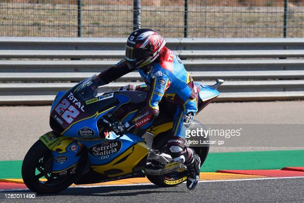Sam Lowes of Great Britain and EG 0,0 Marc VDS heads down a straight during the qualifying for the MotoGP of Teruel at Motorland Aragon Circuit on...