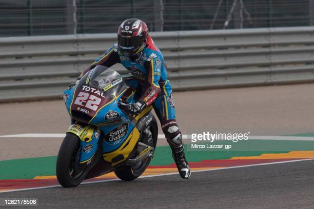 Sam Lowes of Great Britain and EG 0,0 Marc VDS heads down a straight during the Moto2 race during the MotoGP of Teruel at Motorland Aragon Circuit on...