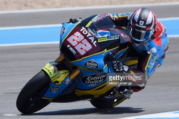 Sam Lowes of Great Britain and EG 0,0 Marc VDS rounds the bend during the MotoGP of Spain, Qualifying at Circuito de Jerez on July 18, 2020 in Jerez...