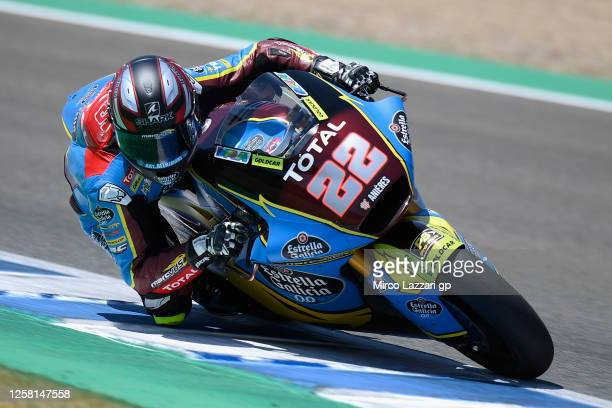 Sam Lowes of Great Britain and EG 0,0 Marc VDS rounds the bend during the MotoGP of Andalucia - Qualifying at Circuito de Jerez on July 25, 2020 in...