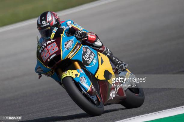 Sam Lowes of Great Britain and EG 0,0 Marc VDS rounds the bend during the MotoGP Of Czech Republic - Qualifying Practice at Brno Circuit on August...