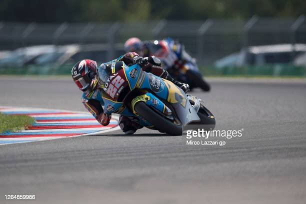 Sam Lowes of Great Britain and EG 0,0 Marc VDS rounds the bend during the Moto2 race during the MotoGP Of Czech Republic at Brno Circuit on August...