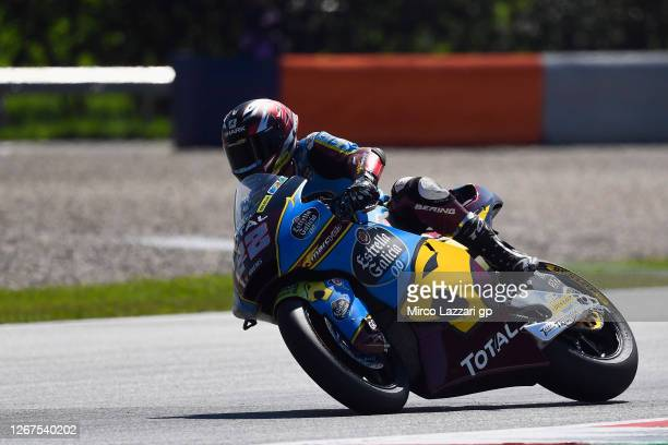 Sam Lowes of Great Britain and EG 00 Marc VDS rounds the bend during the MotoGP Of Styria Free Practice at Red Bull Ring on August 21 2020 in...