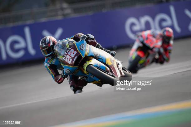 Sam Lowes of Great Britain and EG 0,0 Marc VDS rounds the bend during the MotoGP of France: Qualifying at Bugatti Circuit on October 10, 2020 in Le...