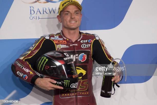 Sam Lowes of Great Britain and Elf Marc VDS Racing Team celebrates the Moto2 pole position at the end of the qualifying practice during the MotoGP of...