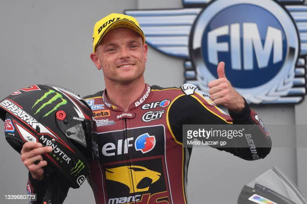 Sam Lowes of Great Britain and Elf Marc VDS Racing Team celebrates the Moto2 pole position during the MotoGP of Aragon - Qualifying at Motorland...