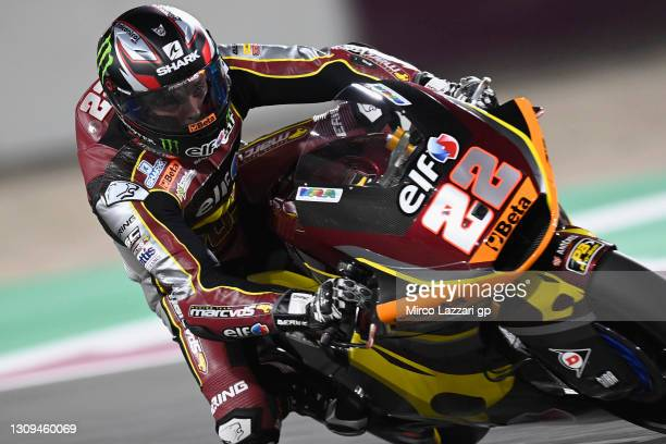 Sam Lowes of Great Britain and Elf Marc VDS Racing Team heads down a straight during the MotoGP of Qatar - Qualifying at Losail Circuit on March 27,...