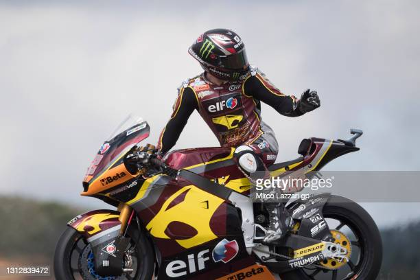 Sam Lowes of Great Britain and Elf Marc VDS Racing Team heads down a straight and looks back during the MotoGP of Portugal - Free Practice at...