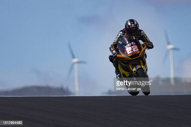 Sam Lowes of Great Britain and Elf Marc VDS Racing Team heads down a straight during the MotoGP of Portugal - Qualifying at Autodromo Internacional...