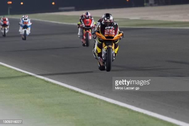Sam Lowes of Great Britain and Elf Marc VDS Racing Team leads the field during the MotoGP of Qatar - Free Practice at Losail Circuit on March 26,...