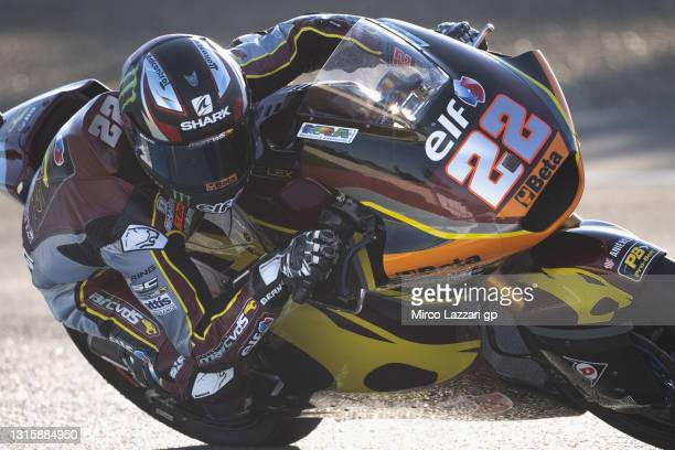 Sam Lowes of Great Britain and Elf Marc VDS Racing Team rounds the bend during the Moto2 wurm up during the MotoGP of Spain - Race at Circuito de...