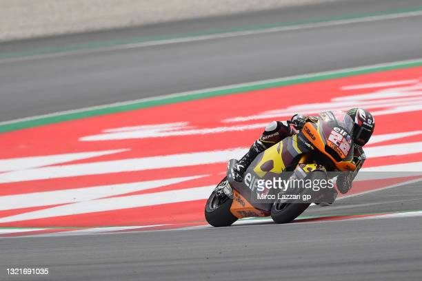 Sam Lowes of Great Britain and Elf Marc VDS Racing Team rounds the bend during the MotoGP of Catalunya - Free Practice at Circuit de...