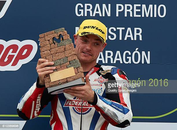 Sam Lowes of Great Britain and Federal Oil Gresini Moto2 celebrates the victory on the podium at the end of the Moto3 race during the MotoGP of Spain...