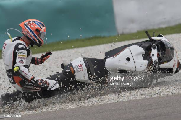 Sam Lowes of Great Britain and Swiss Innovative Investors crashed out during the Moto2 qualifying practice during the MotoGP Of Malaysia Qualifying...