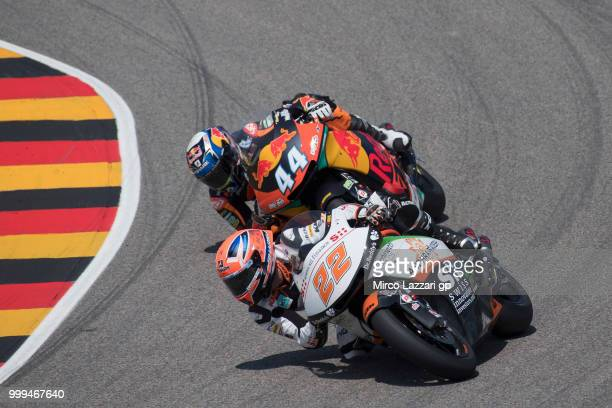Sam Lowes of Great Britain and Swiss Innovative Investors leads Miguel Oliveira of Portugal and Red Bull KTM Ajo during the Moto2 race during the...