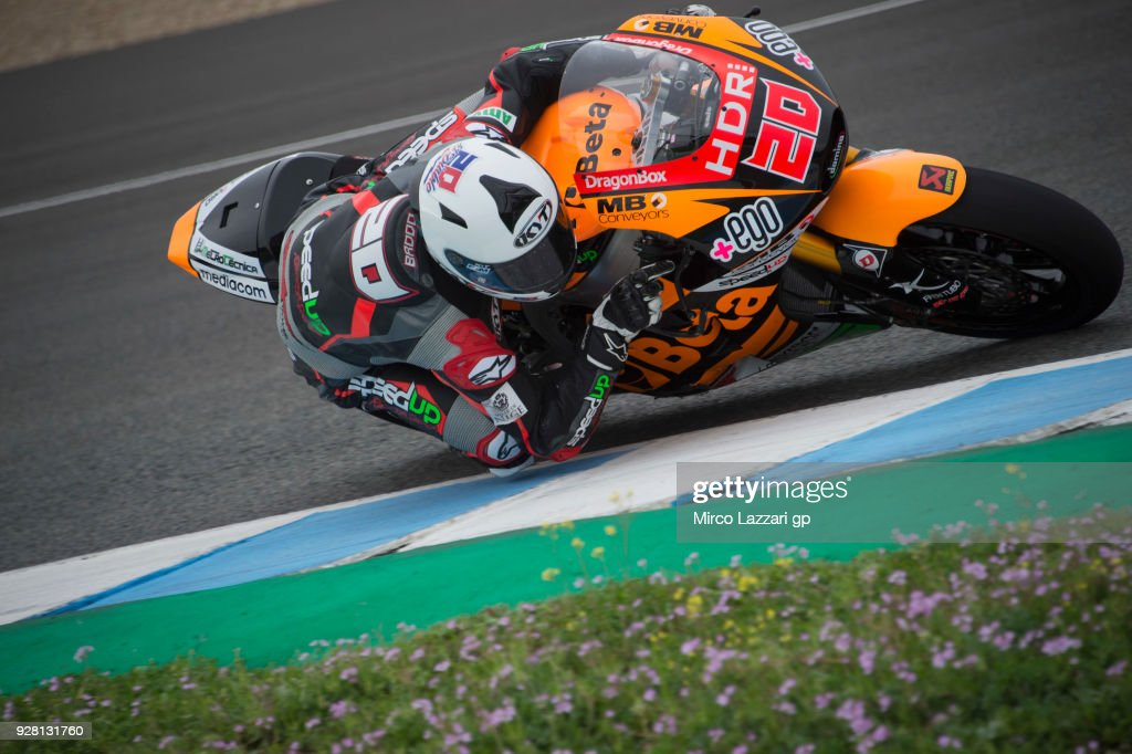 Sam Lowes of Great Britain and Swiss Innovative Investors rounds the bend during the Moto2 & Moto3 Tests In Jerez at Circuito de Jerez on March 6, 2018 in Jerez de la Frontera, Spain.