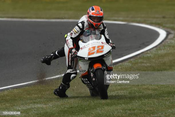 Sam Lowes of Great Britain and Swiss Inovative Investors slips off his bike during Moto2 practice for the 2018 MotoGP of Australia at Phillip Island...