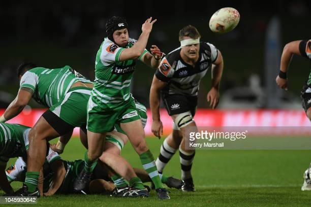 Sam Malcolm of Manawatu passes during the round eight Mitre 10 Cup match between Hawke's Bay and Manawatu at McLean Park on October 5 2018 in Napier...