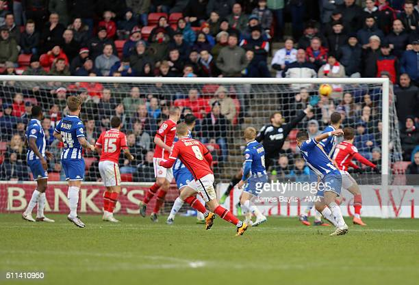 Sam Manton of Walsall scores a goal to make it 11 during the Sky Bet League One match between Walsall and Wigan Athletic at Bescot Stadium on...