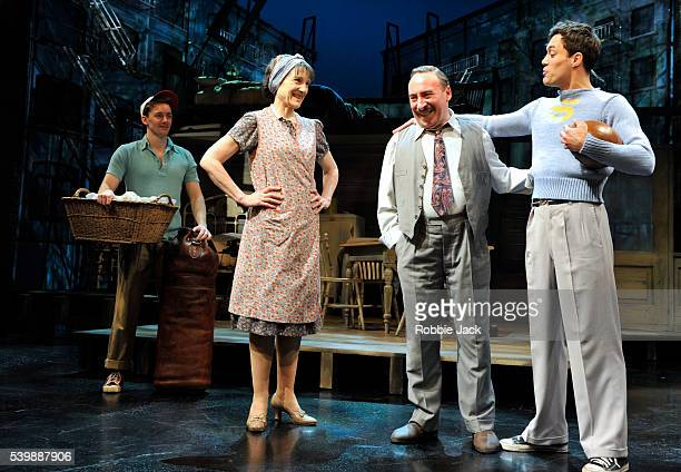 Sam Marks as Happy, Harriet Walter as Linda Loman, Antony Sher as Willy Loman and Alex Hassell as Biff in the Royal Shakespeare Company's production...