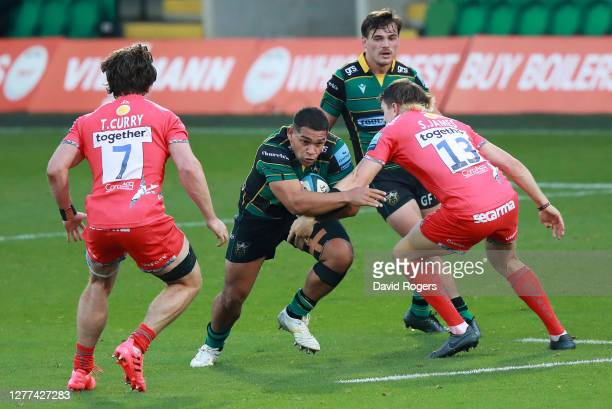 Sam Matavesi of Northampton Saints charges upfield during the Gallagher Premiership Rugby match between Northampton Saints and Sale Sharks at...