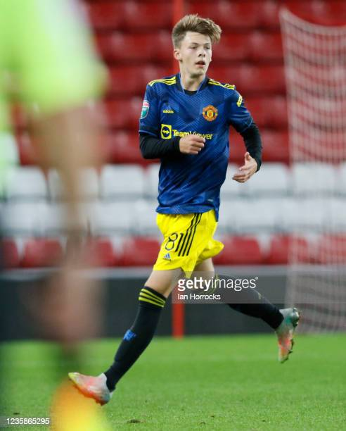 Sam Mather of Manchester United during the Papa John's Trophy match between Sunderland and Manchester United at Stadium of Light on October 13, 2021...