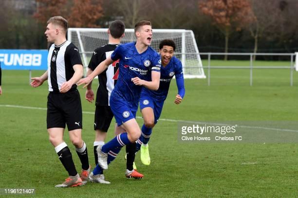 Sam McClelland of Chelsea celebrates scoring the first goalduring the U18 Premier League Cup match between Newcastle United U18s and Chelsea FC U18s...