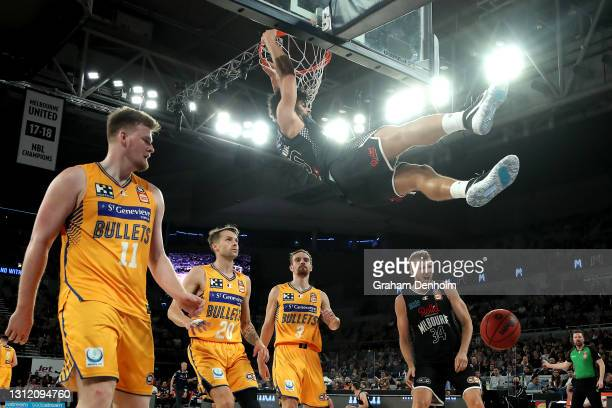 Sam McDaniel of United slam dunks during the round 13 NBL match between Melbourne United and the Brisbane Bullets at John Cain Arena, on April 12 in...