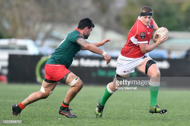 Sam McDell of Poverty Bay makes a break during the round one Heartland Championship match between Poverty Bay and Wairarapa Bush at Rugby Park on...