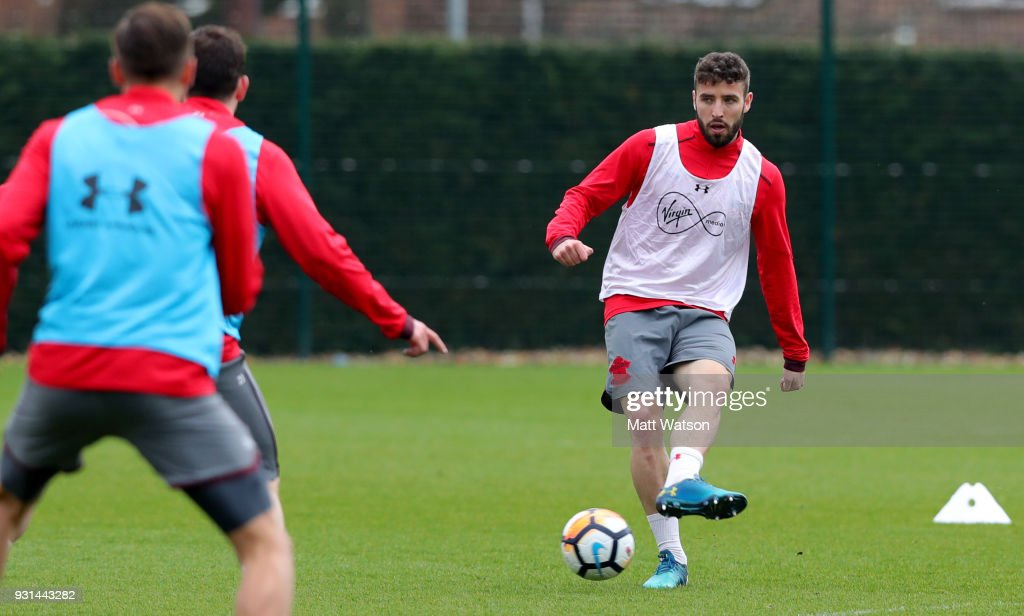Sam McQueen during a Southampton FC training session at the Staplewood Campus on March 13, 2018 in Southampton, England.