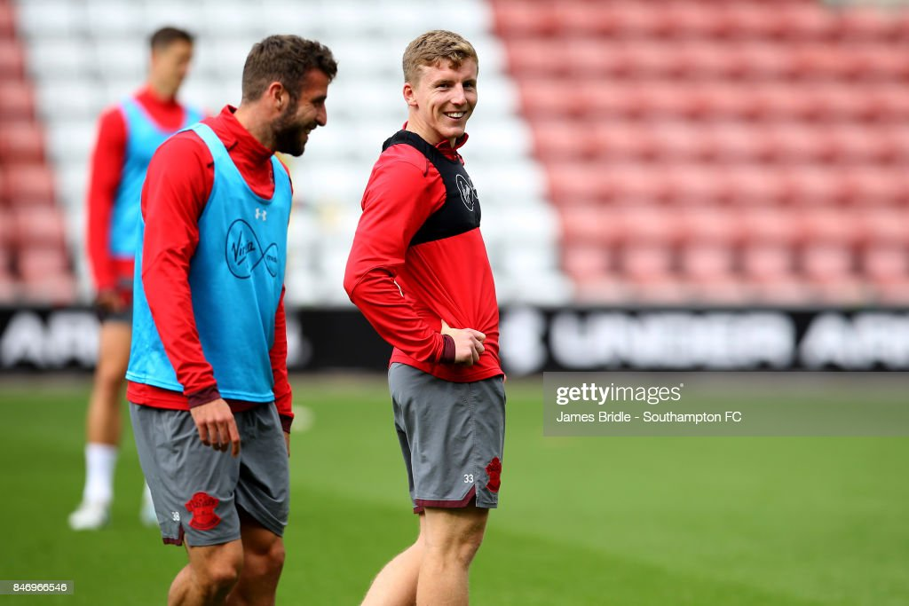 Sam McQueen (left) Steven Davis (middle) during a Southampton FC training session at St Mary's Stadium on September 14, 2017 in Southampton, England.