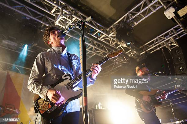 Sam McTrusty and Ross McNae of Twin Atlantic perform on stage at The Liquid Room on August 11, 2014 in Edinburgh, United Kingdom.